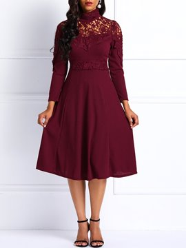 Ericdress Long Sleeve Knitted Lace A-Line Pleated Dress