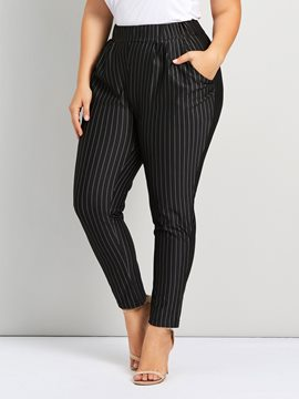 Ericdress Plus Size Stripe Slim Straight Full Length Casual Pants