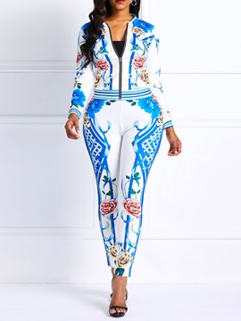 Ericdress Floral Print Skinny Jacket and Pants Women's Two Piece Sets