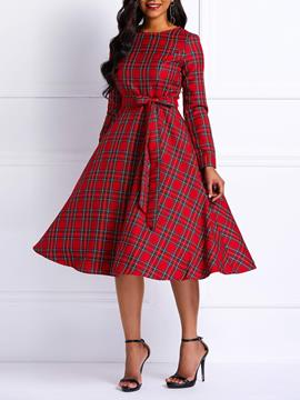 Ericdress a cuadros scoop expansion a line dress