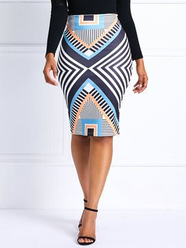 Ericdress Print Pencil Skirt Mini Skirt Geometric Skirt