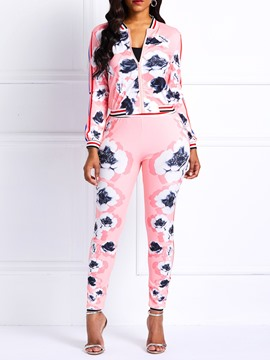Ericdress Floral Thread Skinny Jacket and Pencil Pants Two Piece Sets
