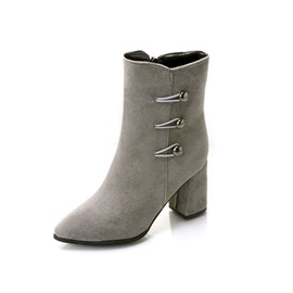 EricdressFaux Suede Round Toe Side Zipper Women's Ankle Boots