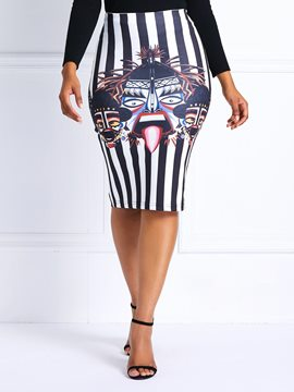 Ericdress Striped Print Pencil Skirt High-Waist Column Skirts