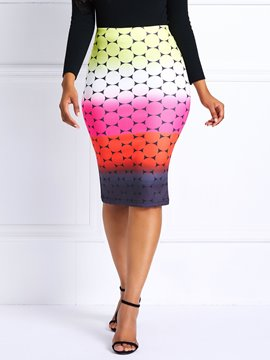 Ericdress Geometric Print Color Block High-Waist Women's Pencil Skirt