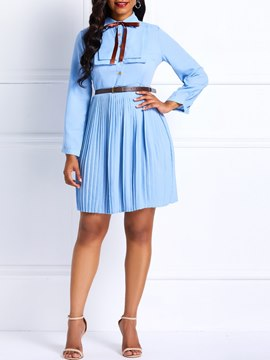 Ericdress Pleated Knee-Length Long Sleeve Plain Bowknot Dress