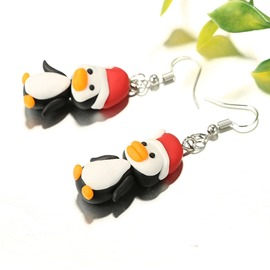 Ericdress Christmas Red Penguin Earrings