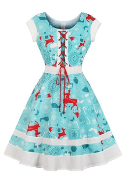 Ericdress Zipper-Up A Line Printed Cocktail Dress