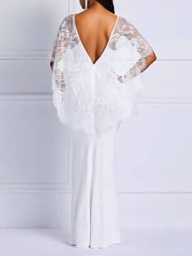 Ericdress Chiffon Lace Floor-Length Half Sleeve Mermaid White Dress
