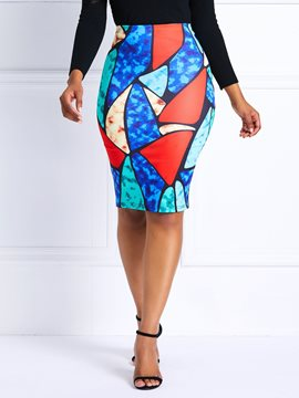 Ericdress Color Block Geometric High-Waist Column Skirt