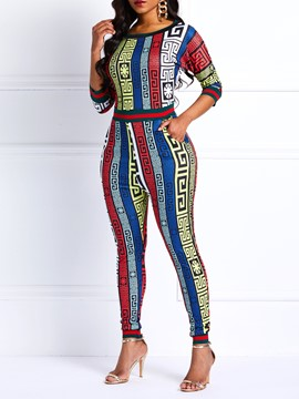 Ericdress Geometric Print Pockets Slim Color Block Women's Jumpsuits