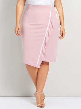 Ericdress High-Waist Stringy Selvedge Mid-Calf Plain Skirt