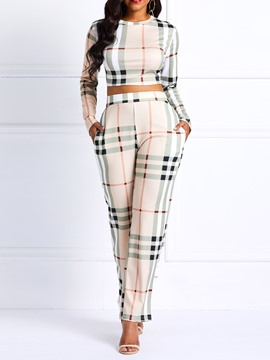 Ericdress Plaid Skinny Pockets T-Shirt and Pants Women's Two Piece Sets