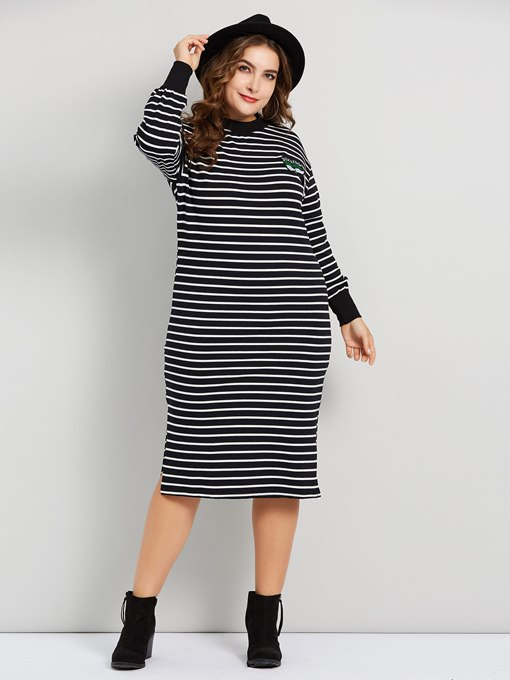 Ericdress Plus Size Embroidery Long Sleeve Mid-Calf Fall Stripe Dress