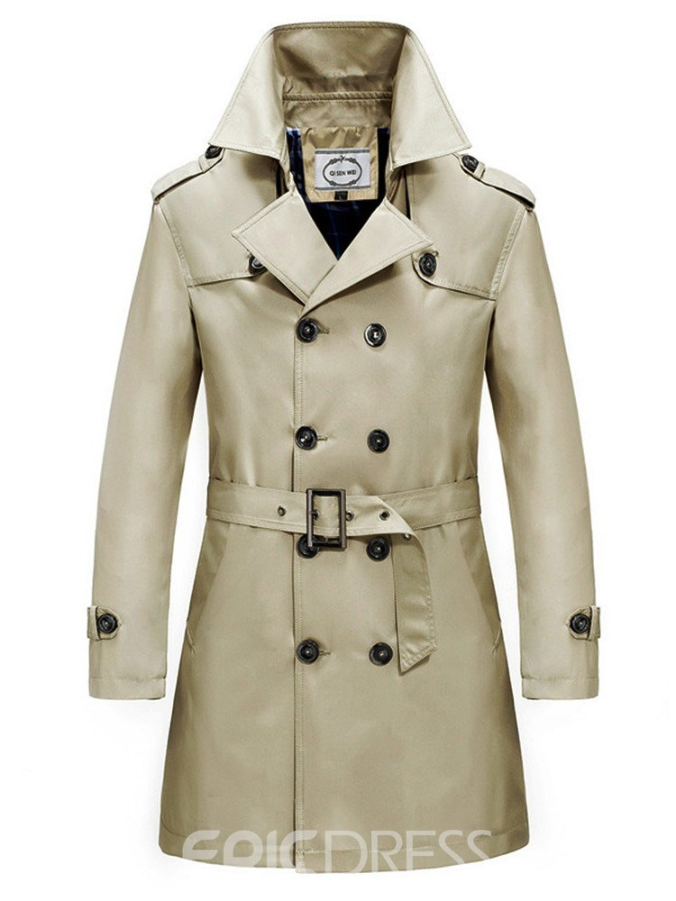 Ericdress Plain Double Breasted Slim Mens Casual Trench Coat With Belt