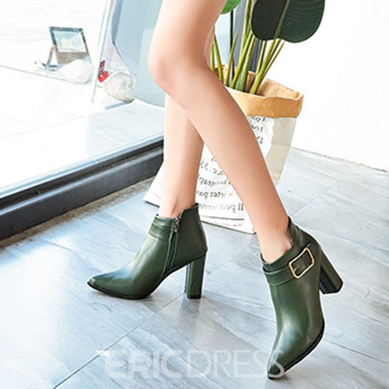 Ericdress PU Pointed Toe Chunky Heel Women's Boots