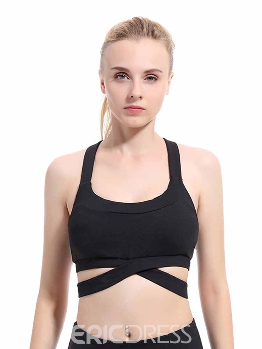 Ericdress Plain Non-Adjusted Straps Absorbent Free Wire Sports Bras