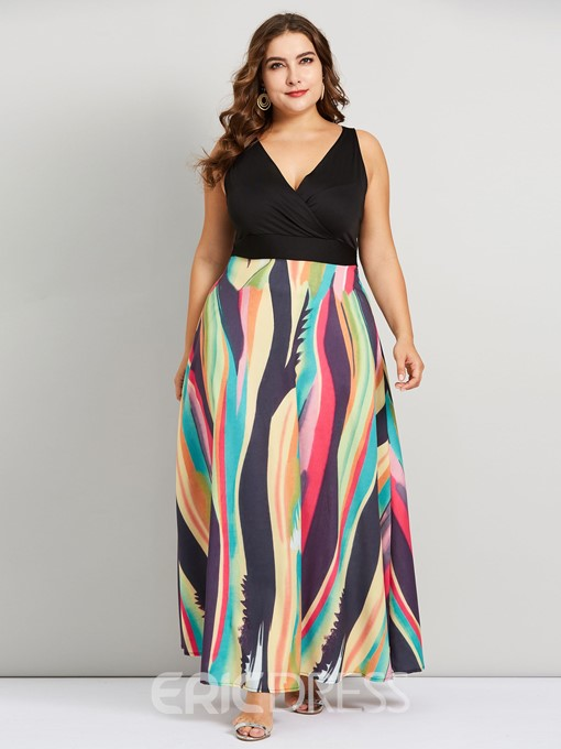 Ericdress Plus Size Floor-Length Sleeveless Print Pullover High Waist Dress