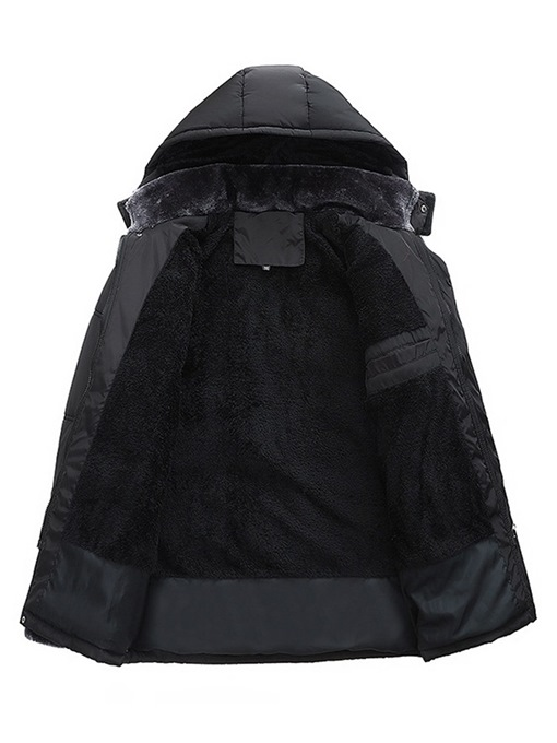 Ericdress Plain Cashmere Lining Hooded Thick Mens Down Jacket