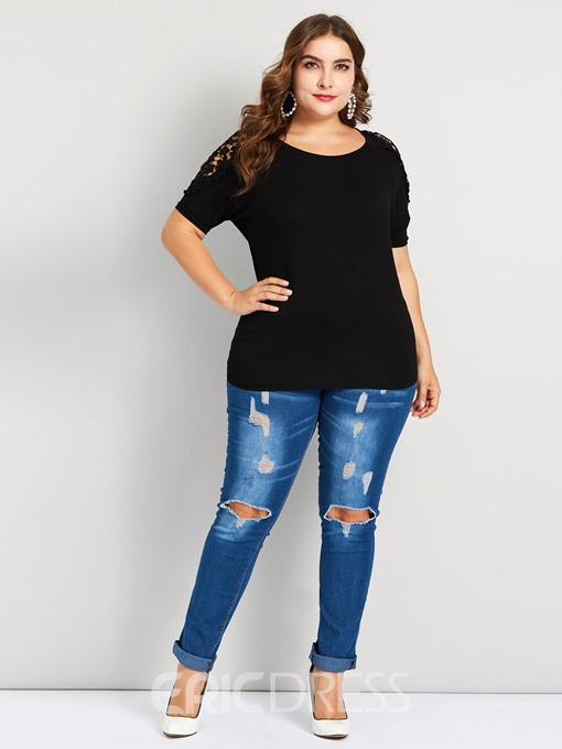Ericdress Patchwork Lace Plus Size Loose T-Shirt
