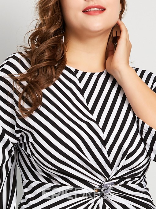 Ericdress Round Neck Pleated Stripe Plus Size Blouse