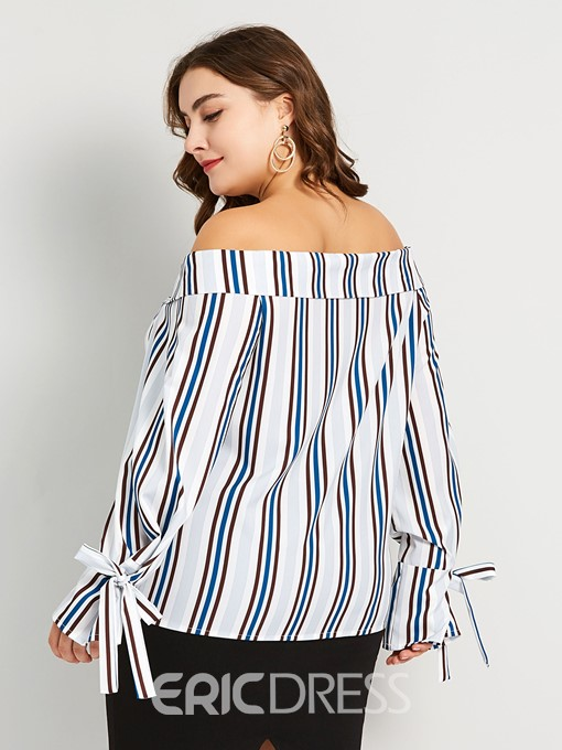 Ericdress Backless Stripe Plus Size Blouse