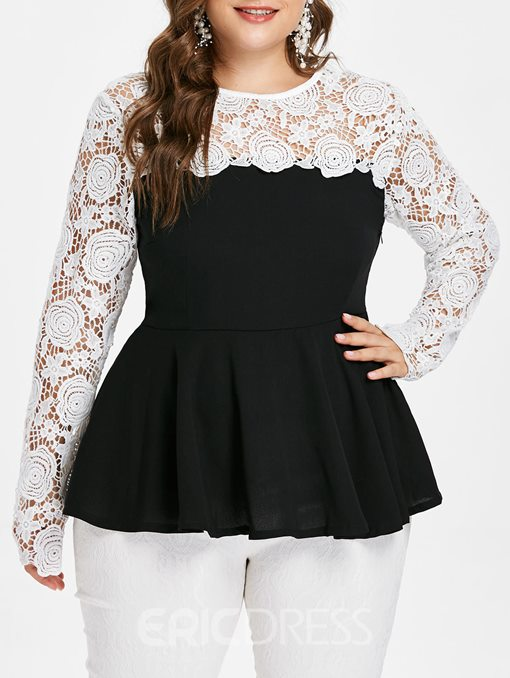 Ericdress Patchwork Plus Size Lace Blouse