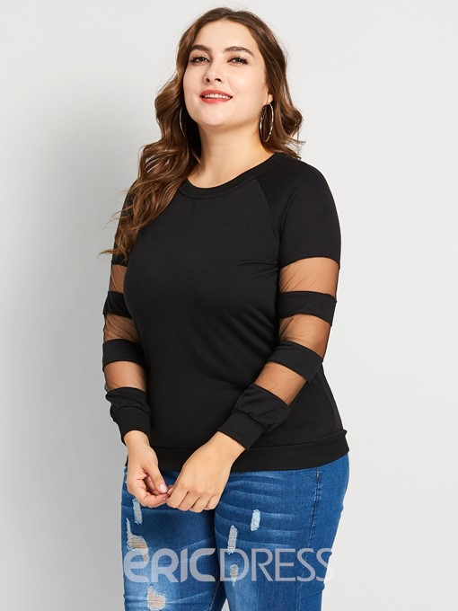 Ericdress Patchwork Mesh Plus Size Casual T-Shirt