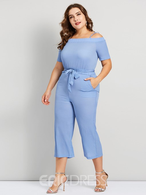 Ericdress Plus Size Backless High Waist Wide Legs Jumpsuit