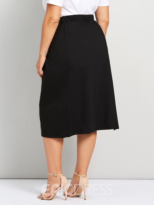 Ericdress Plus Size Split High Waist Mid-Calf Casual Skirt