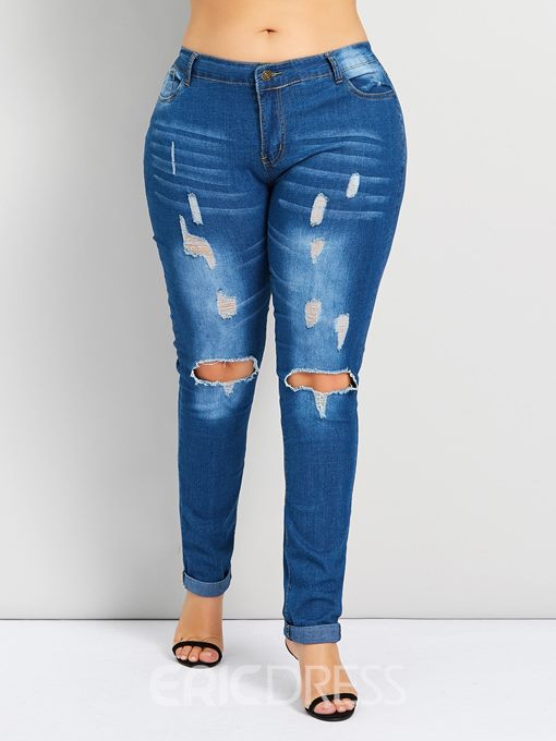 Ericdress Plus Size Hole Plain High Waist Zipper Jeans