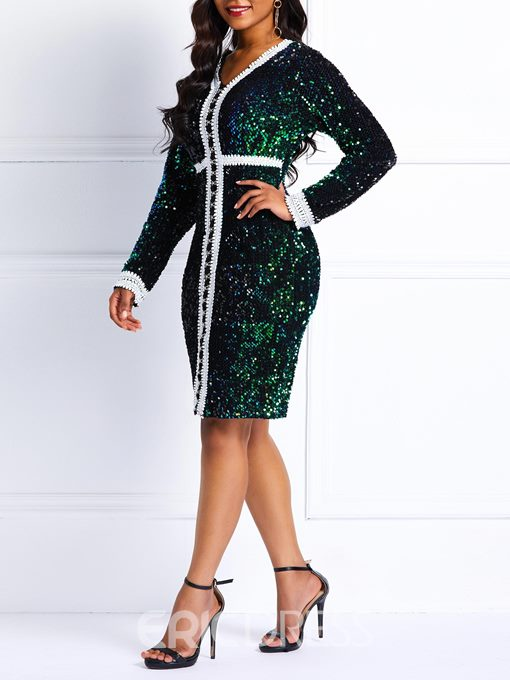 Ericdress Long Sleeve Sequins V-Neck Dress