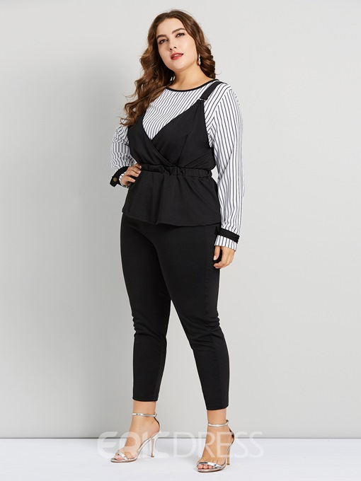 Ericdress Plus Size Stripe Patchwork Shirt And Pants Two Piece Sets