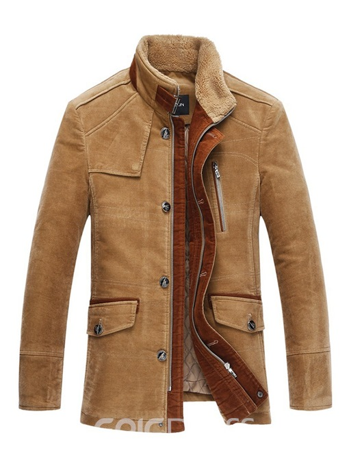 Ericdress Plain Stand Collar Cashmere Lining Single-Breasted Mens Jacket