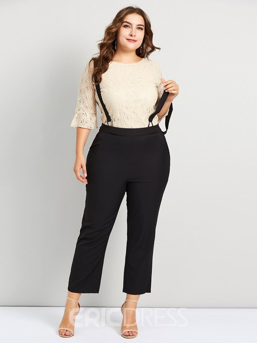 Ericdress Plus Size Casual Plain T-Shirt And Pants Two Piece Sets
