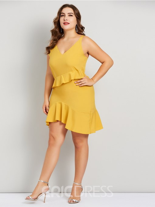 Ericdress Plus Size Falbala Sleeveless Mid-Calf Spaghetti Strap Pullover Dress