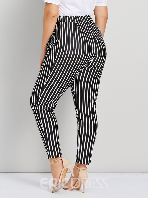 Ericdress Plus Size Stripe Slim Harem Pants High Waist Casual Pants