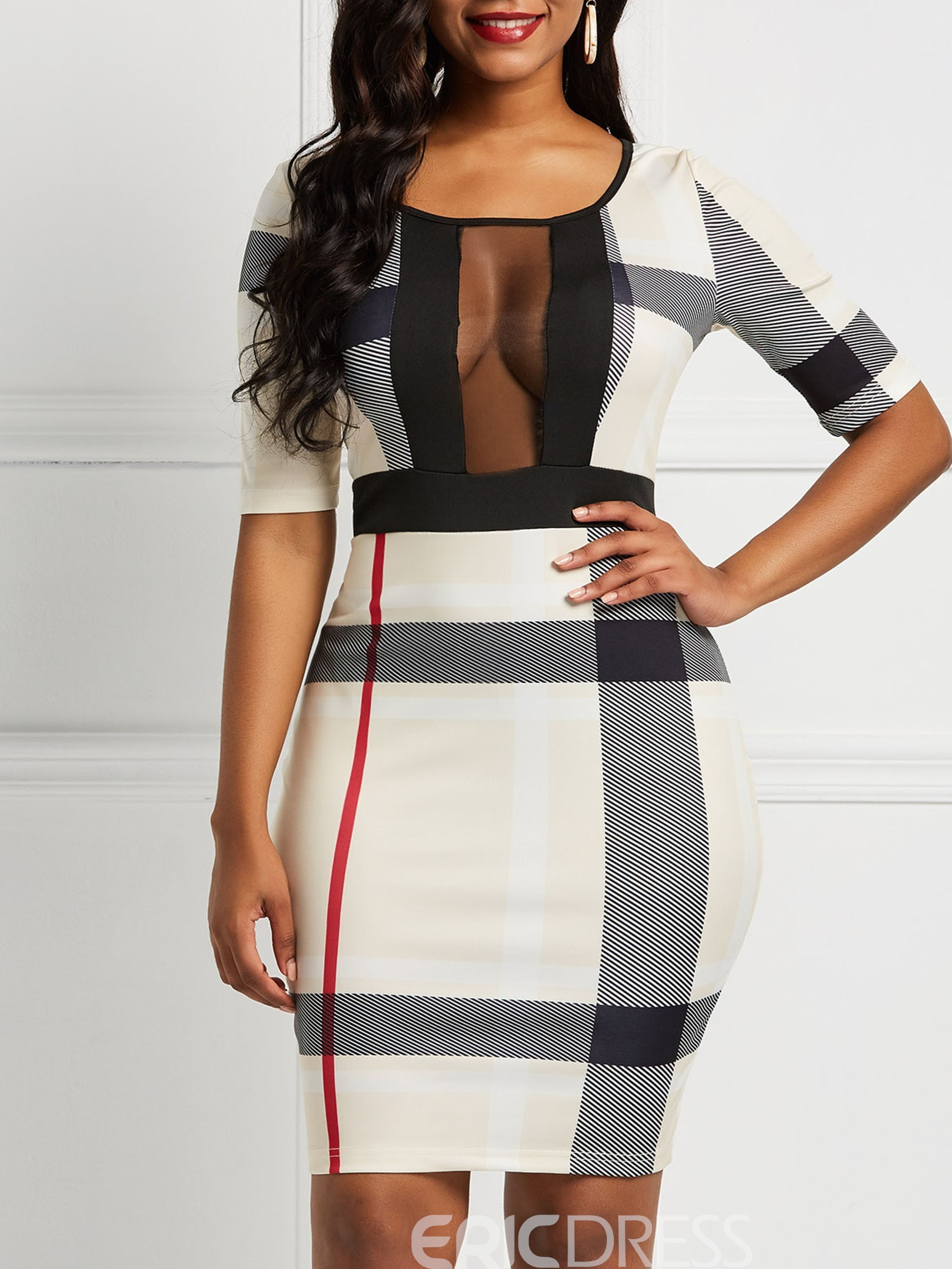 Ericdress Mesh Mesh Half Sleeve Sexy Plaid Bodycon Dress