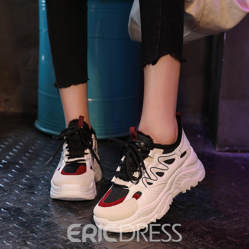 Ericdress Lace-Up Platform Mid-Cut Upper Women's Sneakers