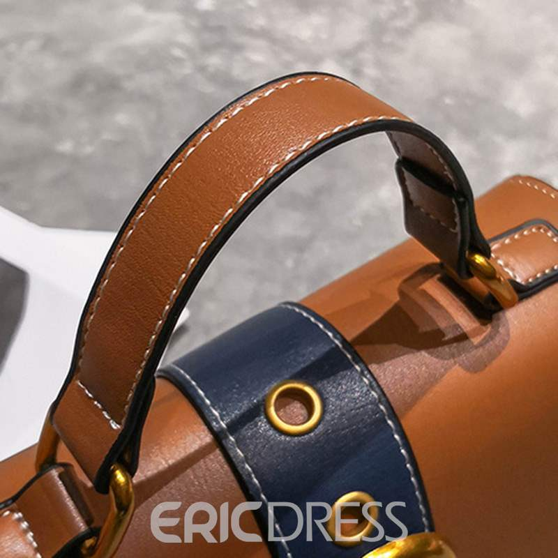 Ericdress PU Color Block Rectangle Tote Bags