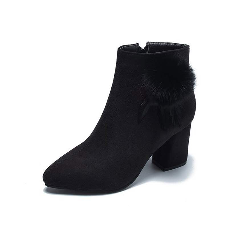 Ericdress Faux Fur Side Zipper Chunky Heel Women's Ankle Boots