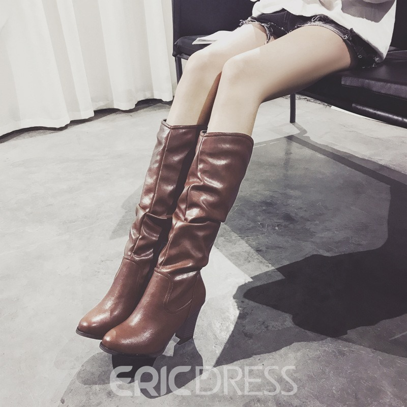 Ericdress PU Round Toe Chunky Heel Women's Knee High Boots