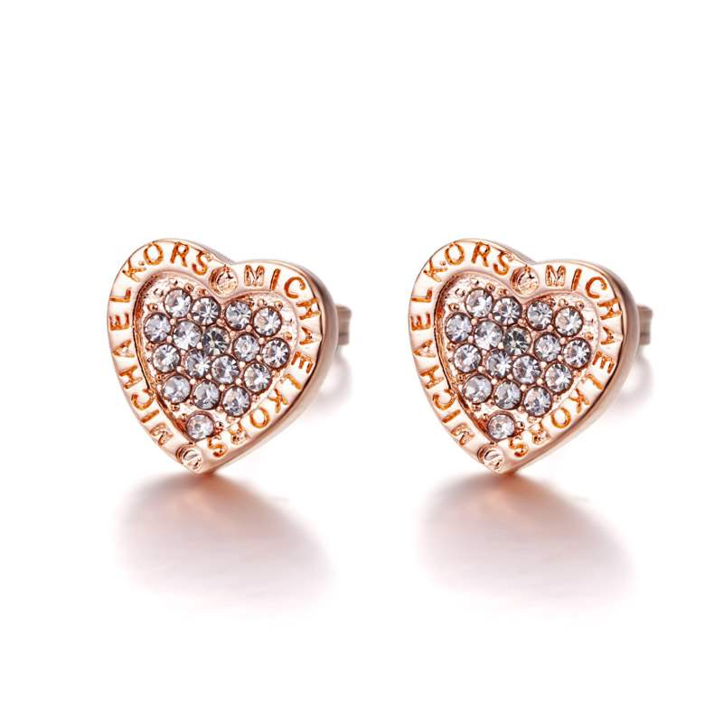 Ericdress Heart Diamante Stud Earrings