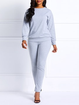 Ericdress Bead Plain Sports Round Neck Hoodie and Pants Women's Two Piece Sets