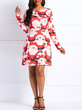 Ericdress Long Sleeves Print A-Line Dress