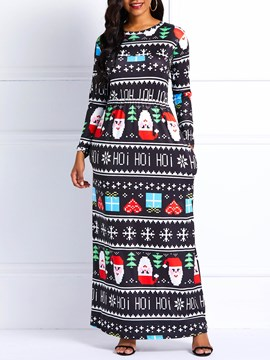 Ericdress Christmas Print A-Line Floor-Length Dress