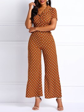 Ericdress Polka Dots Single-Breasted Notched Lapel Shirt and Pants Two Piece Sets