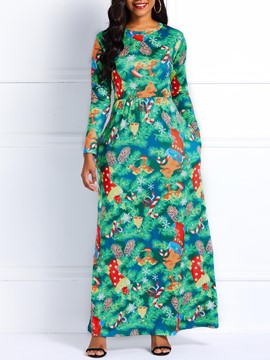 Ericdress Long Sleeves Cartoon Print Floor-Length Dress