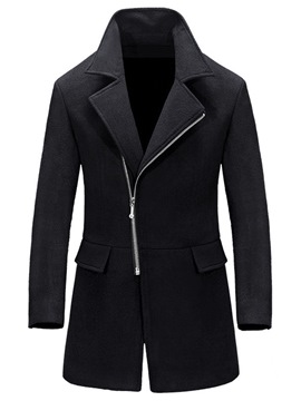 Ericdress Plain Lapel Slim Mens Zipper Wool Coat
