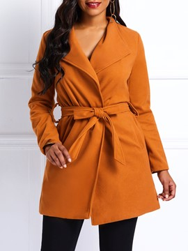 Ericdress Straight Lace-Up Lace-Up Mid-Length Winter Overcoat